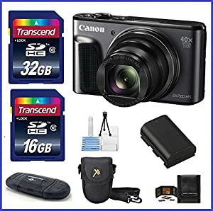 Canon PowerShot SX720 HS Digital Camera Bundle Kit; Includes: 48GB (32GB+ 16GB) SDHC High Speed Memory Cards + Spare Battery + Camera Case and more ...