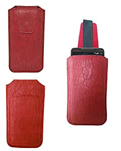 Generic Premium Leather Fabric Pull Up Pouch for - iBall Andi 4U Frisbee - Red - PUPRD55#0581DR