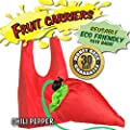 FRUIT CARRIERS 4 Pack: Eco-friendly, Reusable Shopping Tote Bags Available in 6 Fun Designs! Grapes, Pineapple, Carrot, Kiwi, Strawberry and Chili Pepper