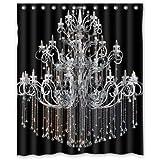 "60""(w) x 72""(L) Custom classical Chandeliers black Bathroom Waterproof Polyester Fabric Shower Curtain"