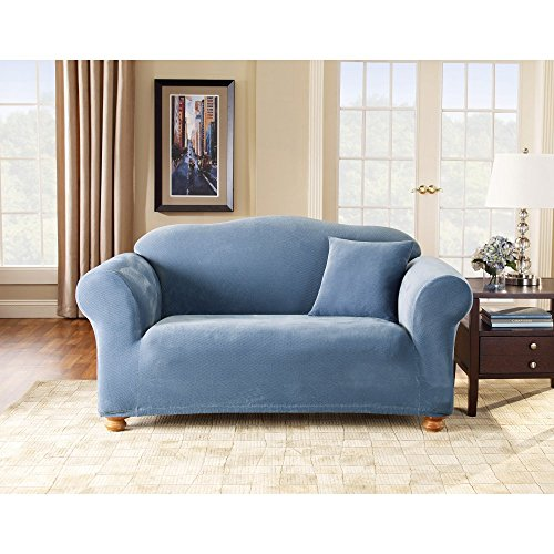 Surefit 35092 stretch pique 1 piece loveseat slipcover blue home garden decor slipcovers Blue loveseat slipcover