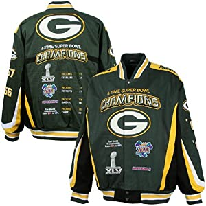 NFL Green Bay Packers 4X Super Bowl Champions Commemorative Twill Full Button Jacket... by Football Fanatics