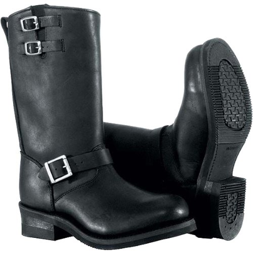 River Road Twin Buckle Engineer Men's Leather Harley Cruiser Motorcycle Boots - Black / Size 10