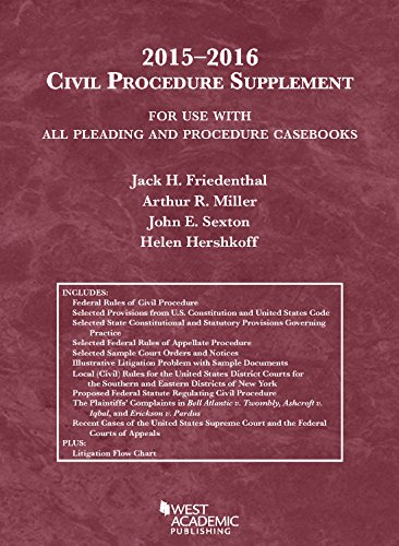 Civil Procedure Supplement, For Use with All Pleading and Procedure Casebooks, 2015-2016 (American Casebook Series)