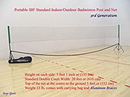 Genji Sports Portable Indoor Badminton posts & Net 3rd Generation