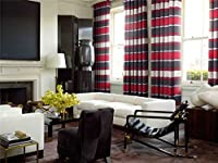 London Stripe Red Chenille Jacquard 66x72 Ring Top Lined Curtains #ocilmip *as* by Curtains