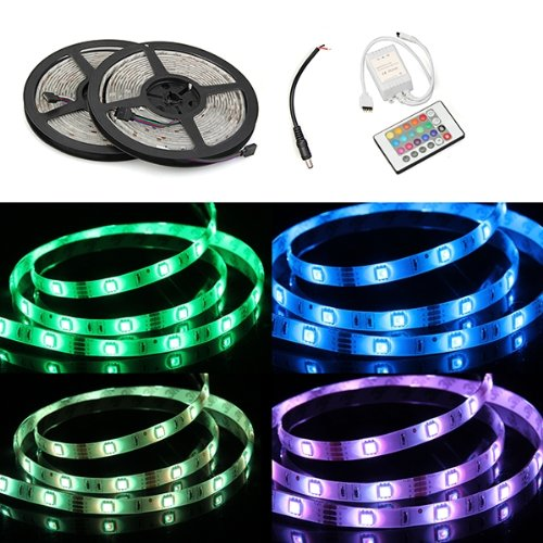 Waterproof 2x5M 10M 5050 SMD 300 RGB LED Light Lamp Flexible Strip Ribbon +24 Key Colours IR Controller. Ideal For Gardens, Homes, Kitchen, Under Cabinet, Aquariums, Cars, Bar, Moon, DIY Party Decoration Lighting