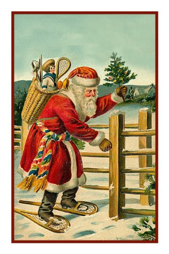 Snowshoeing Santa Victorian Father Christmas Counted X