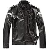 Men's Punk Bomber Biker Motorcycle Slim Fit Faux PU Leather Jacket Blazer by NYC Leather Factory Outlet