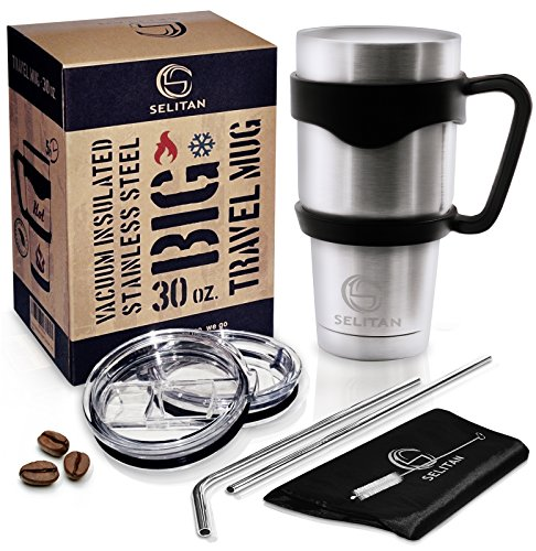 Selitan Stainless Steel Tumbler Mug 30 Oz Gift Set - Double Wall Vacuum Insulated Travel Rambler Cup with Handle, 2 Tritan Lids, 2 Straws, Cleaning Brush & Storage Bag. Keeps Beverage Hot or Cold