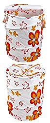 T-Rock 2 pcs Foldable & Collapsible Pop-Up Round Laundry Bag Basket with Zippered Lid and Carry Handle (Color and Design as Per Availability)