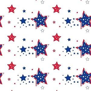 """Northwest Enterprises ValuMost Printed Plastic Table Cover, 54 x 108"""", Patriotic Stars"""