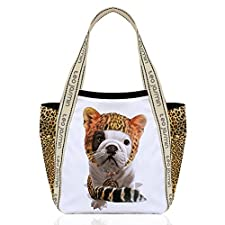 TEO JASMIN - Grand cabas bulldog teo jasmin leopard blanc