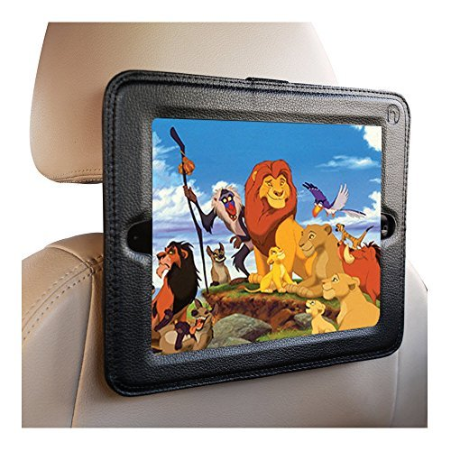 iPad Headrest Mount For Car-Fits Apple iPad's 1,2,3 4 Holder Keeps iPad in Car Secure Within A Strong PU Leather Case. Safe Car Mount for Kids (Ipad Headrest Holder For Car compare prices)