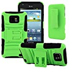 Samsung Galaxy S II Case, CellJoy [Future Armor] {Lime Green} Samsung Galaxy S2 i9100 i777 Straight Talk Net10 At&t 2011 Release Model Case Hybrid Ultra Fit Dual Protection [Heavy Duty] Kickstand Holster **Shock-proof** [Belt Clip Holster Combo] - Robot Case Cover
