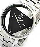 Evana Wilon Inverted Triangle Shape Dial Black Watch , Watches for Men Women