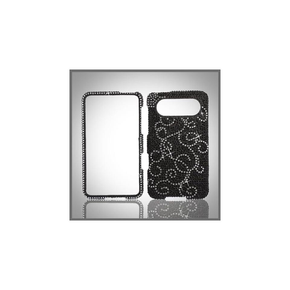 Silver Swirl on Black Cristalina crystal bling diamond rhinestone case cover for HTC HD 7