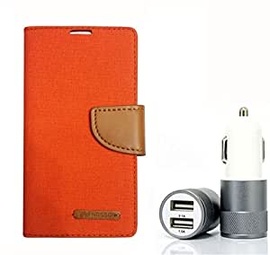 Aart Fancy Wallet Dairy Jeans Flip Case Cover for Blackberry9300 (Orange) + Dual USB Port Car Charger with Smartest & Fastest Technology by Aart Store.