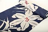 紫織庵浴衣反物(ブランド紫織庵・紺色・絽・ユリの花・お洒落・夏着物・綿100%)