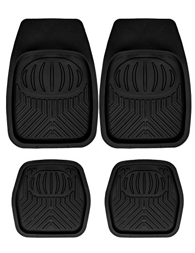 Mann Pack of 4 Front & Rear, Driver & Passenger Seat Ridged Heavy Duty Rubber Floor Car Mats Black (Car Mats Honda Accord compare prices)