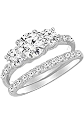 "Sterling Silver ""Past Present Future"" Three Stone Cubic Zirconia Double Band Engagement Wedding Set"