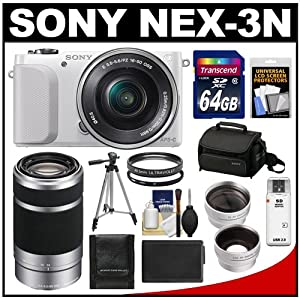 Sony Alpha NEX-3N Digital Camera & 16-50mm Lens (White) with 55-210mm Lens + 64GB Card + Case + Battery + Tripod + Tele/Wide Lenses + Filters Kit