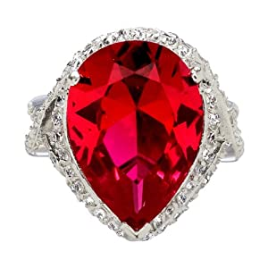 Natalies CZ Ruby Cocktail Ring :  ruby cocktail ring natalies cz ruby ring cocktail ring sterling silver cocktail ring
