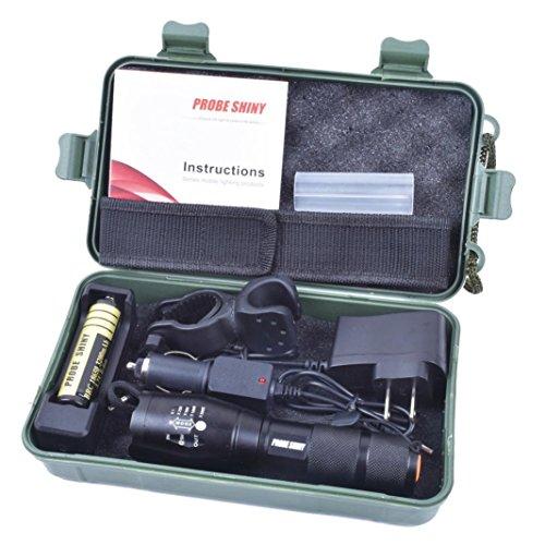 Internet 5000 Lumens Tactical LED CREE XM-L T6 Lampe de poche X800 Zoom Super Bright militaire de grade étanche titulaire Torche 5 Modes+batterie 18650(1pc)+Chargeur AC+Chargeur de voiture+Clips de bicyclette+Pochette en nylon+Boîte