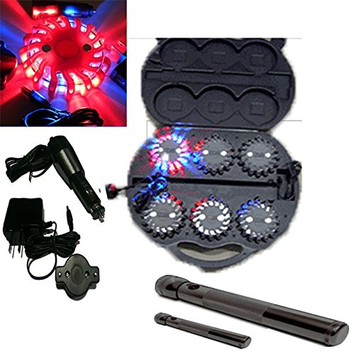 6 Pack Blue Red Rechargable Waterproof Led Magnet Safety Flare With 9 Operating Modes + Free Chargers And Travel Case And Led Flashlight Set!