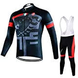 サイクルジャージ 自転車服 長袖 ウェア サイズ選択可 鮮やか 防風保温 3Dパット付きおしゃれ 上下セット サイクルウェア メンズ サイクリング 通気速乾 裏起毛 ビブ付き SYB563-M