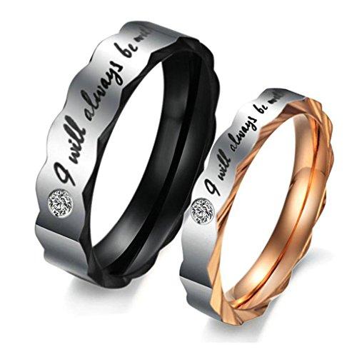 Bishilin Acciaio Inossidabile Anello di Fidanzamento anelli Coppia I Will Always Be With You con Zirconio Donna Misura 17 & Uomo Misura 31