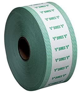 PM Company SecurIT $5 Dime Automatic Coin Wrap Rolls, White/Green, 1900 Wrappers per Roll, 8 Rolls per Carton (51910)
