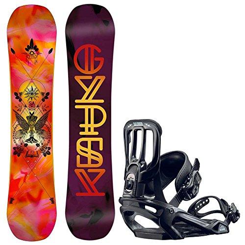 Kinder Freestyle Snowboard Set Salomon Gypsy Grom 133 +Pact 2017 Girls Snowboard Set