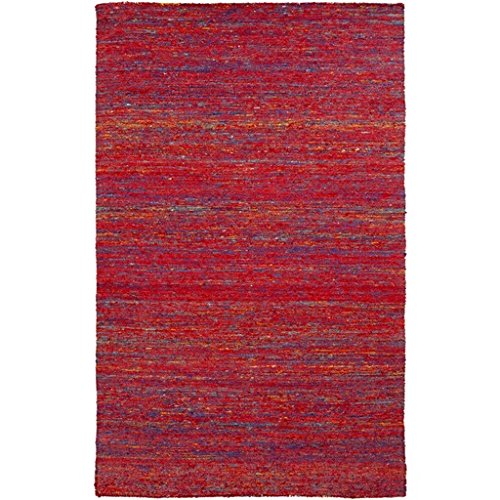 2' X 3' Colorful Noise Venetian Red And Electric Blue Hand Woven Area Throw Rug