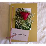 Single Pink Rose Fresh Flower Card with Gypsophilia