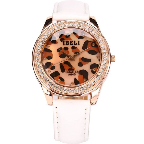 Ampm24 Leopard Print Crystal Rose Gold Case Lady Women White Leather Quartz Wrist Watch Waa208