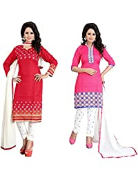 Marmic Fab Women's Cotton Printed Unstitched Regular Wear Salwar Suit Dress Material(Combo Pack Of 2)(MR_Dressmaterial... - B01N0W1D5X