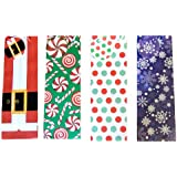 [ Total 12 ct ] Christmas Gift Wine Bags with Gift Tags (Snowflake / Santa Suit / Polka Dot / Candy Cane)