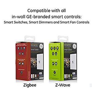 GE Enbrighten Add On Toggle QuickFit and SimpleWire, Z-Wave & GE Zigbee Smart Lighting Controls, Works with Alexa, Google Assistant, SmartThings, NOT A STANDALONE SWITCH, 47895, White 2-pack (Color: White 2-pack)
