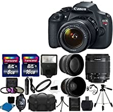 "Canon EOS Rebel T5 DSLR CMOS Digital SLR Camera and DIGIC Imaging with EF-S 18-55mm f/3.5-5.6 IS Lens + 58mm 2x Professional Lens +High Definition 58mm Wide Angle Lens + Auto Flash + 59"" Strong lightweight Tripod + UV Filter Kit With 24GB Complete Deluxe Accessory Bundle"
