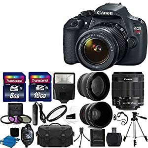 Canon EOS Rebel T5 DSLR CMOS Digital SLR Camera Bundle with Bag, Flash and Accessories, Black (19 Items)