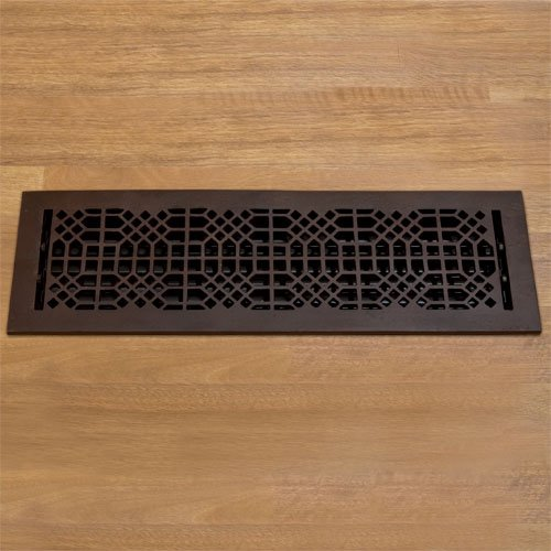 """Oversized Antique Style Bronze Floor Register w/ Louvers - 6"""" x 22"""" (7-5/8"""" x 23-7/8"""" Overall)"""