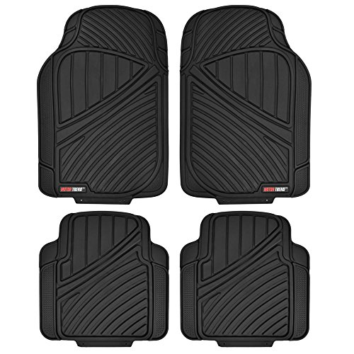Motor Trend FlexTough Standard - 4pc Heavy Duty Rubber Floor Mats (Black) (Weather Tech 2012 Honda Accord compare prices)