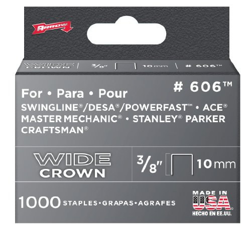 Arrow 606 Wide Crown Swingline Heavy Duty 3/8-Inch Staples, 1,000-Pack