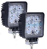 (スタンセン) Stansen LEDワークライト LEDライトバー オフロード 防水作業灯 CREE製27W 9連10-30VDC対応(12V/24V兼用)四角 2個セット [並行輸入品]