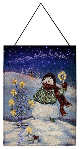 Flake, Winter Snowman Wall Hanging, Bannerette 13X18 Inches