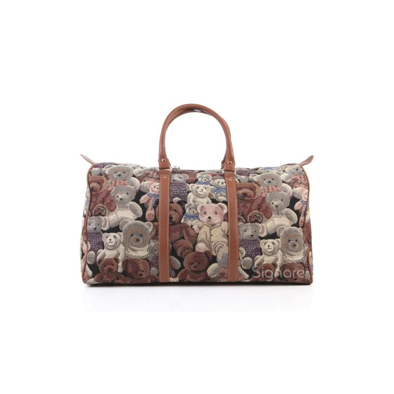 Signare grand fourre-tout bagage weekender en toile tapisserie mode femme Ours