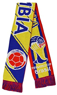 2014 World Cup Colombia Super Fans Football Jacquard Scarf - Multi One Size