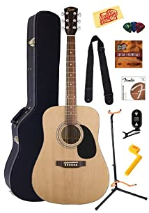 Fender Squier Acoustic Guitar Bundle with Hardshell Case Guitar Stand Instructional DVD Strap Picks Strings String Winder Tuner and Polishing Cloth - Natural