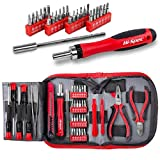 Hi-Spec 38 pcs Electronics Repair Tool Kit - Magnetic Precision Ratcheting Screwdriver & Phillips, Slotted, Torx, Hex and Triwing/Head Bits Set, Lose Nose & Diagonal Pliers, Tweezers Pry Bar in Case (Color: A.38pc Electronics Repair Tool Kit)